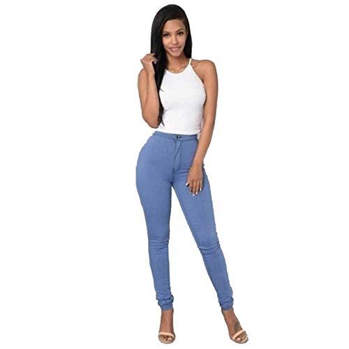 De Fille Décontracté Pantalon Jeans Moderne Skinny Classique Unie Pantalons Haute En Femmes Boutons Denim Décontractés Blau Taille Couleur Extensible Pour 5L3SA4cRjq