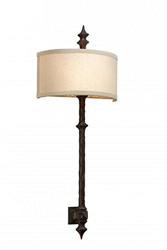 Troy Lighting Umbria 2-Light Wall Sconce - Umbria Bronze Finish with Hardback Linen Shade (Linen Umbria)