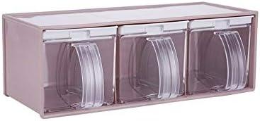 FS Caja De Condimento De Plástico, Caja De Condimento De Cocina, Jarrón De Condimento Tipo Cajón De Tres Barras con Cuchara para Salero Juego De Caja De Condimento para MSG (Color : Rosado)
