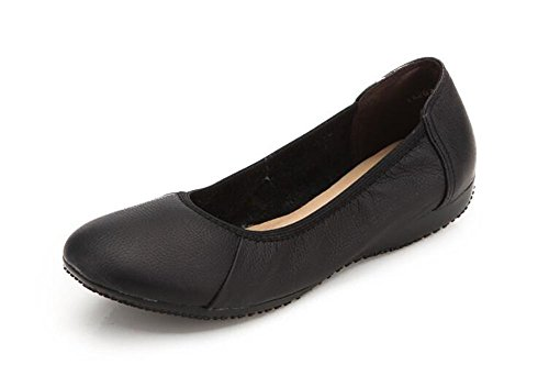 CHFSO Womens Casual Comfortable Solid Round Toe Slip On Low Top Work Flats Shoes Black J82DE1mc