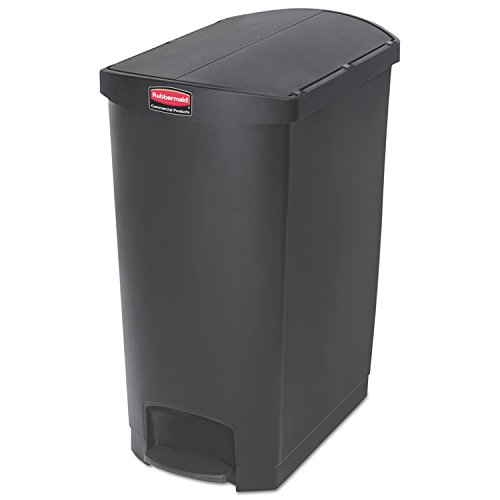 1883616 Rubbermaid Commercial Slim Jim Black 24G End Step Can - 24 gal Capacity - 32'' Height x 15.9'' Width - Resin, Poly, Plastic - Black