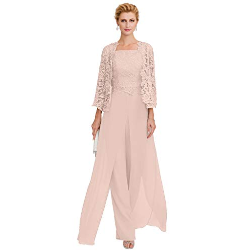 TS Pantsuit Straps Floor Length Chiffon Corded Lace Split Front Mother of The Bride Dress with Appliques Dusty Rose