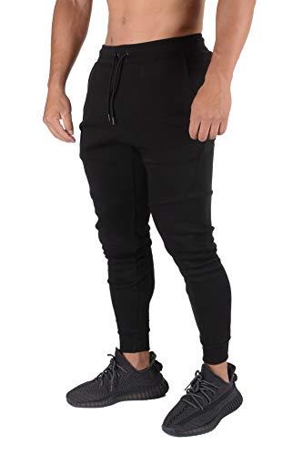 YoungLA Mens Slim Fit Joggers Sweatpants Gym Fitness Training 207 Bk M Black (Best Slim Fit Sweatpants)