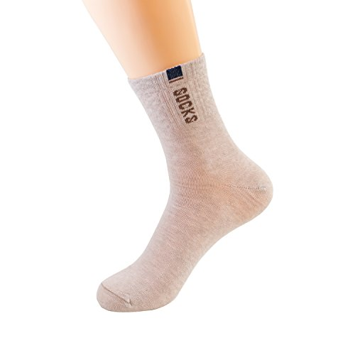 Max Resource Organic Linen Heavy Duty Reinforced Crew Socks Men's 5-Pairs(Natural/Undyed, Free Size) - Linen Natural Brown Undyed