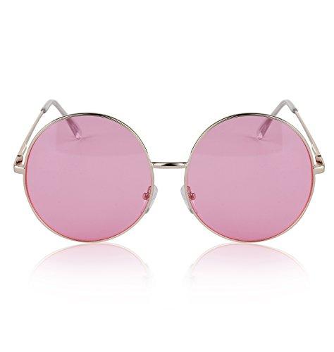 Rose Coloured Glasses - SunnyPro Vintage Womens Shades Festival Gold Fake Trendy Colored Eyeglasses Pink