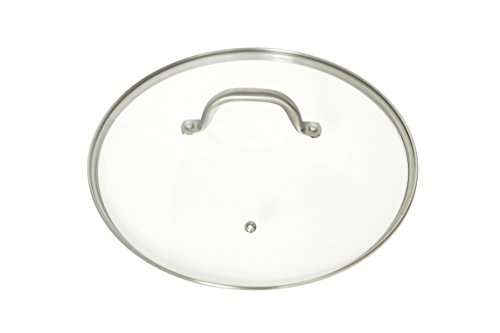 Glass Frying Pan Lid, 12 Inch Tempered Glass Cookware Lid With Vent | Stainless Steel Handle and Rim | Oven Safe and Dishwasher Safe | Perfect for Warming, Steaming, Simmering, and Braising.