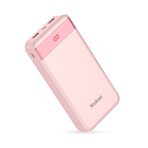 Yoobao 20000mAh Power Bank High Capaicty Portable Charger External Battery Pack Dual USB Output Powerbank Cell Phone Battery Backup Charger Compatible Smartphone Cellphone Tablets - Pink
