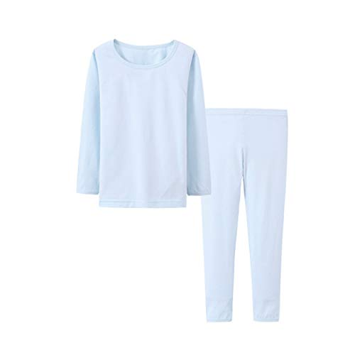 Boy Jammies Organic Cotton Big Boy 2 Piece Pajamas Set, Kid Underwear Solid Sleepwear Long Sleeve Blue -