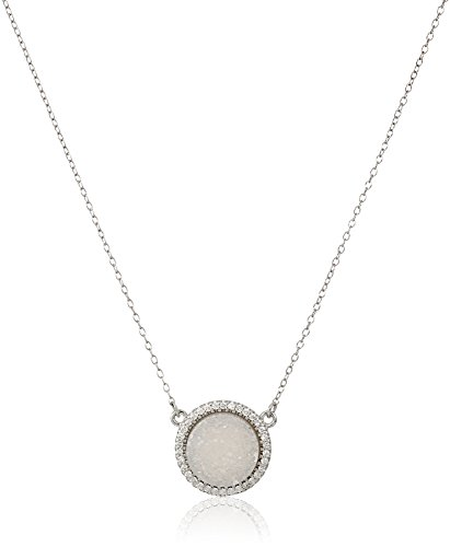 Drusy Quartz Necklace (Sterling Silver Genuine Natural White Druzy and Cubic Zirconia Pave Halo Necklace, 16