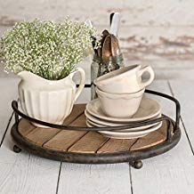 Round Wood Plank Serving Tray-Weathered Farmhouse Chic (Accessories Not Included) ()