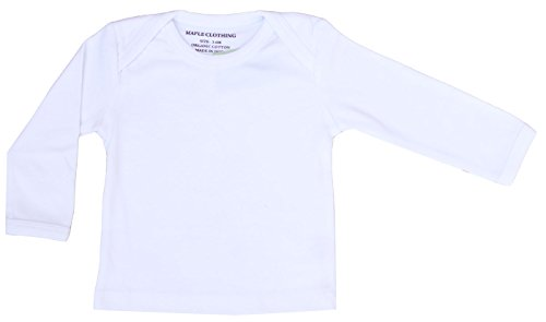 Maple Clothing Organic Cotton Baby Long Sleeve T-Shirt GOTS Certified (White, 3-6m)