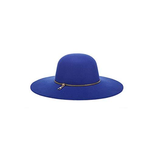 Felted Wool Hat Patterns - Autumn Wide Wool Edge Ladies Spring Floppy Wool Felt Caps Winter Felted Cap Blu