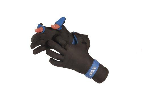 Glacier Glove Pro Angler Slit Finger Fishing Glove, Black/Blue, Small