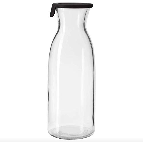 IKEA VARDAGEN 2 Pack Carafe with Silicone Lid, 34oz Clear Glass, Ideal For Hot and Cold Water Pitcher, Juice, Milk, Lemonade and More (Milk Ideal)