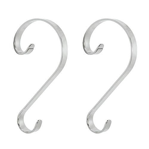 Stocking Scrolls Stocking Hanger, Set of 2 - Silver (Silver Hanger Stocking)