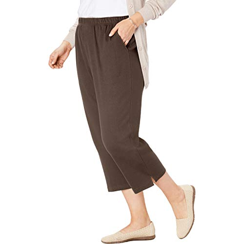 Woman Within Women's Plus Size 7-Day Knit Capri - Chocolate, 1X
