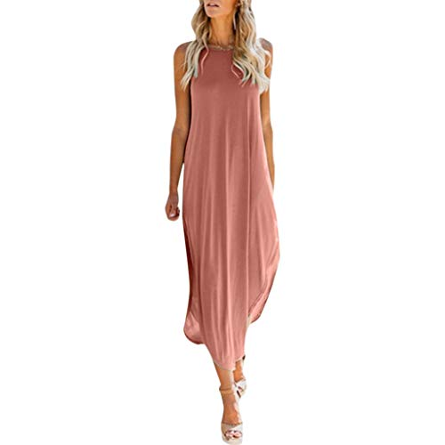 QIQIU Womens Sexy Oversized Slit Solid Casual Loose Cami Sleeveless Beach Holiday Irregular Dress Pink (Pastel Colored Mother Of The Bride Dresses)