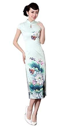Amazon.com: YueLian Women\'s Long Chinese Style Wedding Dress Qipao ...