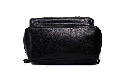 Bag Men Capacity Large Black Leather for Fashion Backpack Bags Black Shoulder Bags School Mens Solid Daypacks Cg71qx0wEw