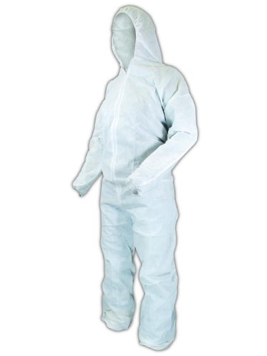 Magid EconoWear Lite N Kool Plus SMS Fabric Coverall with Hood, Disposable, Elastic Cuff, White, 2X-Large (Case of 25)