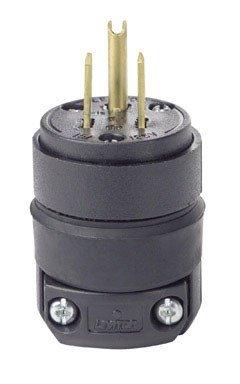 Leviton 515PR 15 Amp 125 Volt, Straight Blade Rubber Plug, NEMA 5-15P, Black ()