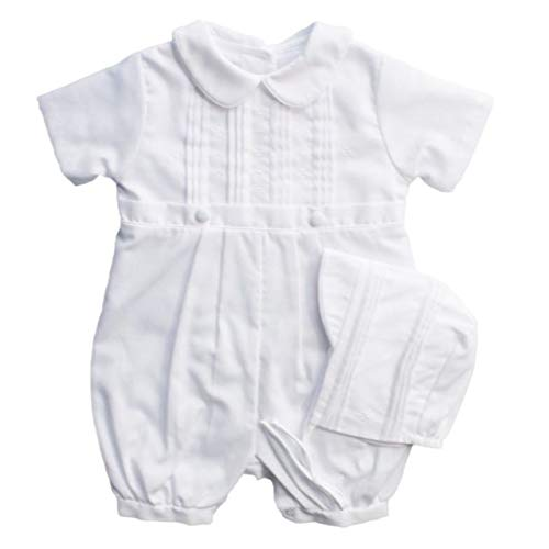 Baby Boys Rompers Pique Christening Baptism Knickers and Hat (12 Months) White by Baby Jett Setters (Image #5)