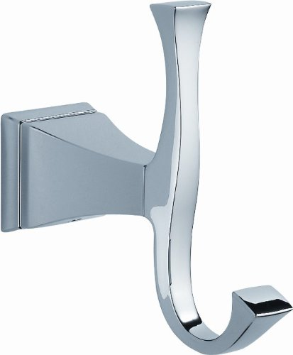 Delta Faucet 128885 Dryden Double Robe Hook, Polished - Rack Delta Front