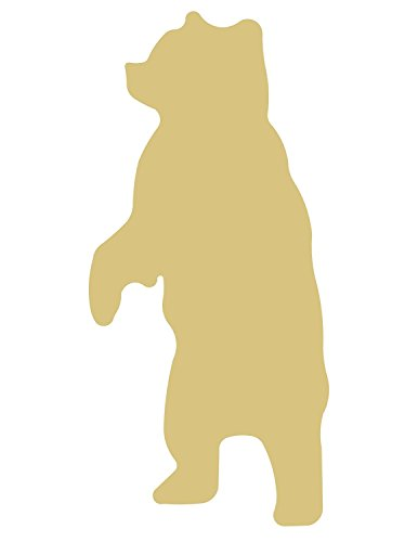 Bear Cutout Unfinished Wood Grizzly Polar Black Brown Animal MDF Shape Canvas Style 3 ()