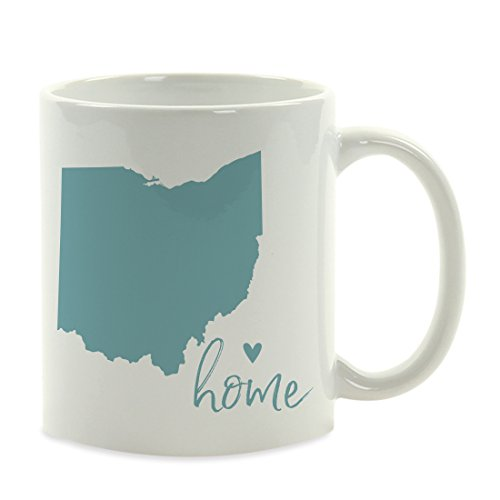 Andaz Press 11oz. US State Coffee Mug Gift, Aqua Home Heart, Ohio, 1-Pack, Unique Hostess Distance Moving Away Christmas Birthday Gifts for Her