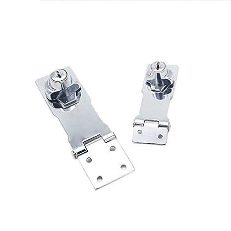 SODIAL 3 Stainless Steel Plating Self Locking Security Hasp Staple 2 Keys Lock Shed Cupboard Padlock Door//Shed//Gate//Van Lock//Drawer Lock