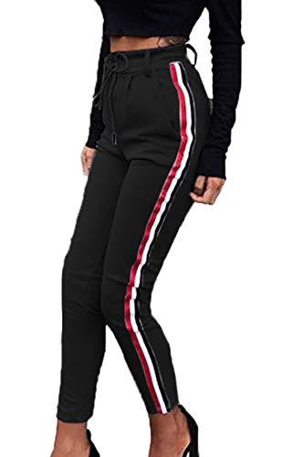 Pants Righe Vita Running Alta Patchwork Onlyoustyle Fitness Lungo Matita Jogging Leggings Donna Casual Moda A Nero Da Pantalone Pantaloni Sportivi TxwqYqFIz