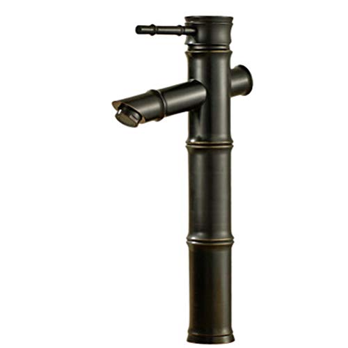 HATHOR-23 Sink Faucet Black Bronze Bamboo Section Elevated Above Counter Basin Hot Pot Filled Faucet Basin Faucet Brass Faucet