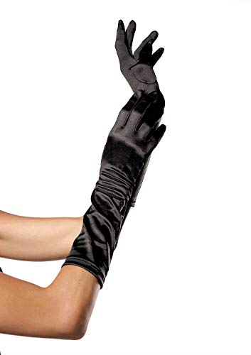 Leg Avenue Women's Satin Elbow Length Gloves, Black, One