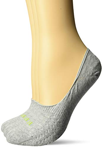 HUE Women's Air Cushion No-Show Liner Socks, 3-Pair, light charcoal heather/Grey, One Size ()