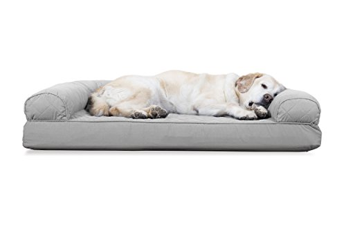 Furhaven Pet Dog Bed | Cooling Gel Memory Foam Orthopedic Quilted Sofa-Style Living Room Couch Pet Bed for Dogs & Cats, Silver Gray, Jumbo