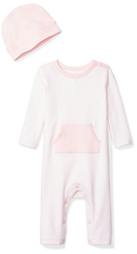 rganic Long-Sleeve One-Piece Pocket Coverall with Cap Set, Pink Blush, Newborn ()