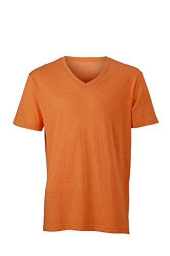 JAMES & NICHOLSON Modisches T-Shirt mit V-Ausschnitt Orange-melange bcTxZ