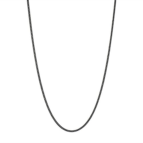 Thin Black 2mm Stainless Steel Curb Chain Necklace - Choose 18