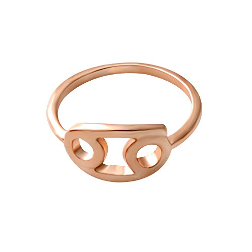 SENFAI 12 Zodiac Sign Constellation Finger Ring Rose Gold Color Horoscope Astrology Disc Ring (Cancer)