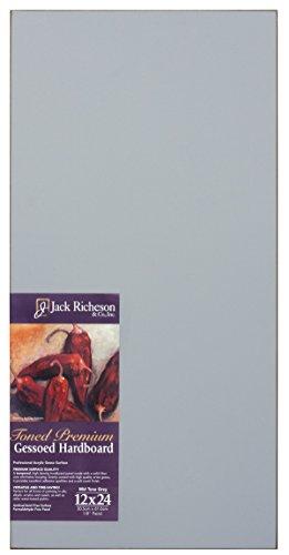 Jack Richeson 1611224 Richeson Mid-Tone Grey Toned Gessoed 1/8'' Hardboard 12''x24'' by Jack Richeson