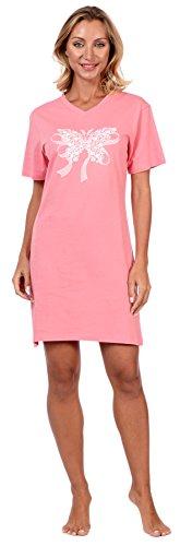 Knit Butterfly Gown - Cozy Loungewear Sleepwear Women's Printed Cotton Short Sleeve Summer Nightgown (Floral Butterfly Print Pink, M)