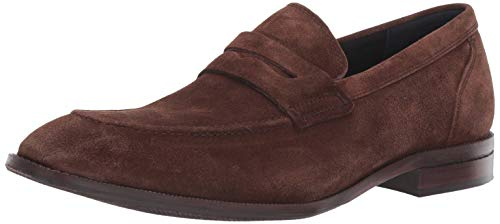 Cole Haan Men's Wagner Grand Penny Loafer, Bourbon Suede/Leather, 10.5 M US Brown Suede Leather Loafer