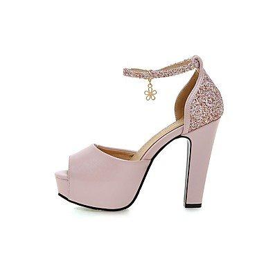 LvYuan Tacón Robusto-Zapatos del club-Sandalias-Boda Informal Fiesta y Noche-PU-Negro Azul Rosa Blanco Pink