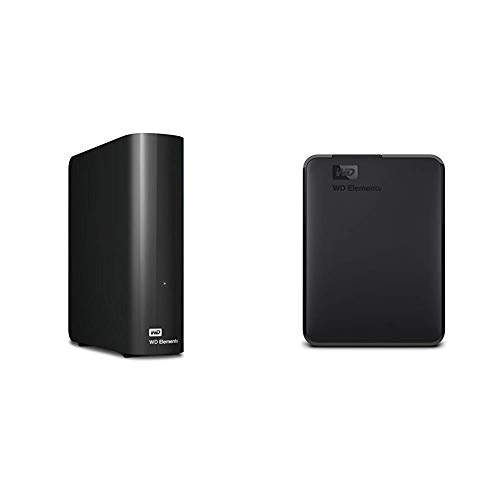 Western Digital 10TB Elements Desktop Hard Drive - USB 3.0 - WDBWLG0100HBK-NESN Bundle with WD 5TB Elements Portable External Hard Drive, USB 3.0 - WDBU6Y0050BBK-WESN