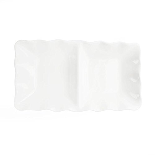 American Atelier Ruffle 2 Section Server, White