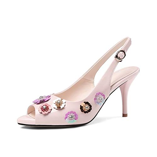 Pump Gray Summer Shoes Stiletto White Women's ZHZNVX Pink Heels Leather White Basic Comfort Heel Patent 5IAz07wxq