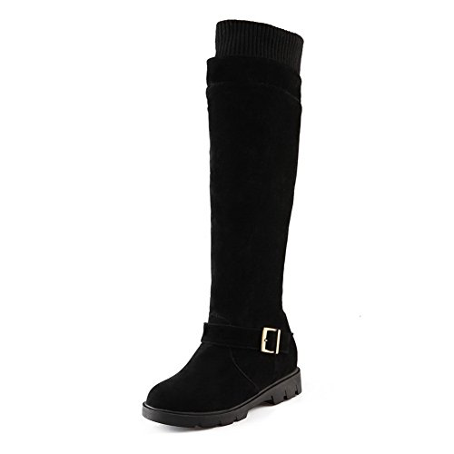 Platform Girls Neck Frosted Buckle Boots Elasticity AdeeSu Black q6vB7ngZZ
