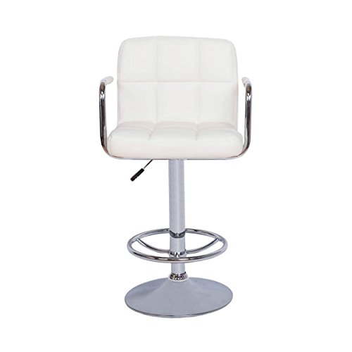 Vogue Furniture Contemporary White Quilted Vinyl Adjustable Height Bar Stool with Arms and Chrome Base