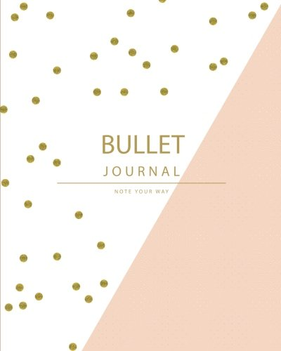 Bullet journal planner quarterly with blank yearly & monthly calendar  ( 6 months blank calendar ): Pink Gold polka dot design and inside has HABITS tracker ,Size 8