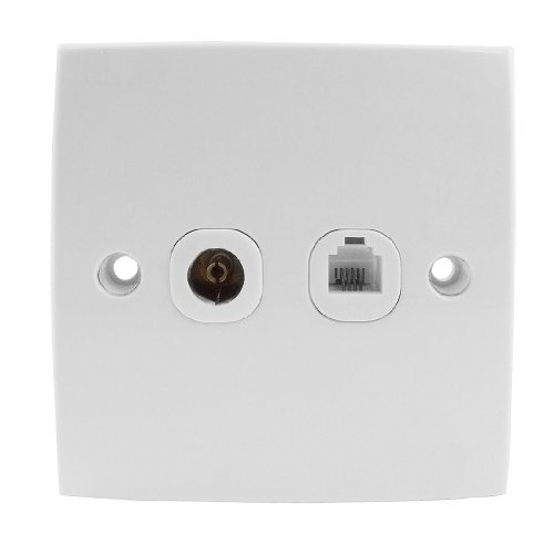 Plate TV Blanc Place plastique Rj11 Té lé phone Socket mur DealMux